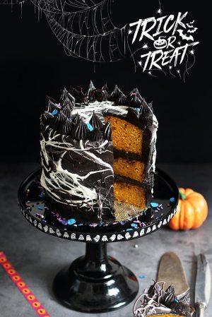 Halloween Spiderweb Pumpkin Chocolate Cake