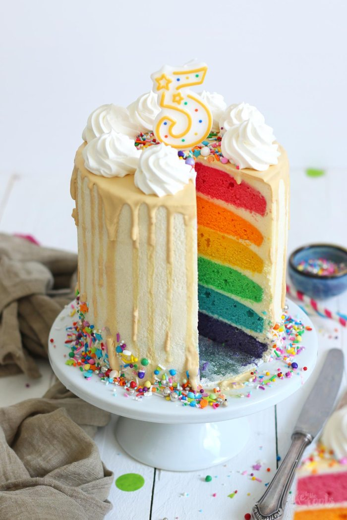 Rainbow Layer Cake | Bake to the roots