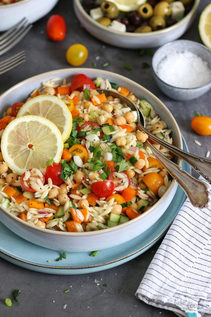 Orzo & Chickpea Summer Salad | Bake to the roots