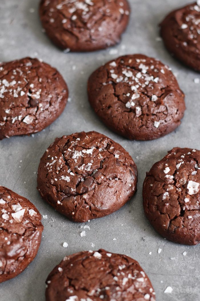 Salted Brownie Chocolate Chip Cookies | Bake to the roots