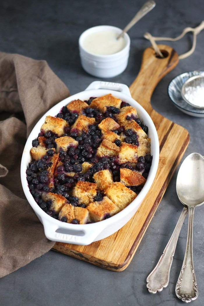 Bread Pudding with Blueberries | Bake to the roots