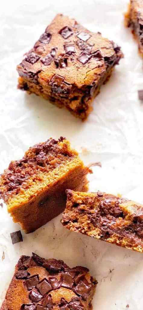 Chewy chocolate blondies are moist and a complete winner at feeding a crowd