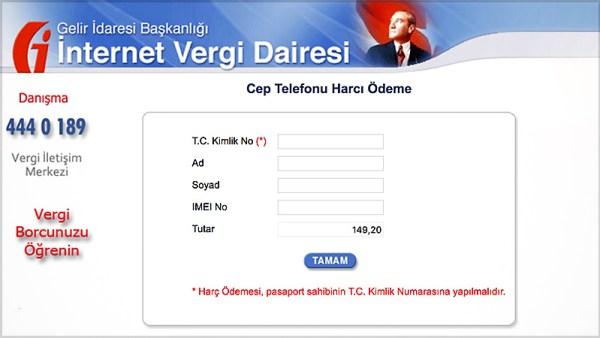 İnternet Vergi Dairesi Cep Telefonu Harcı Ödeme
