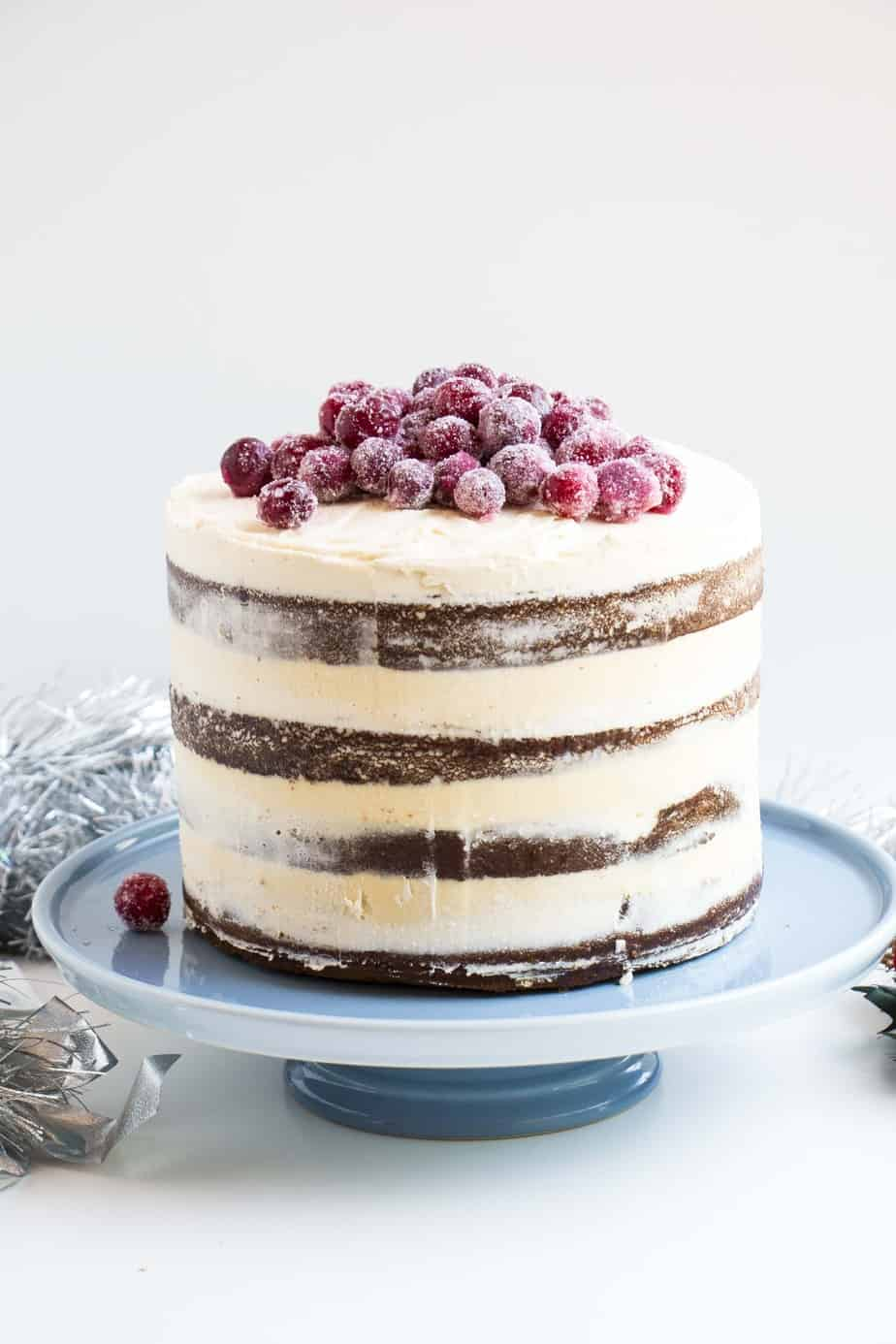 Soft Gingerbread Cake With Sparkling Cranberries Baking