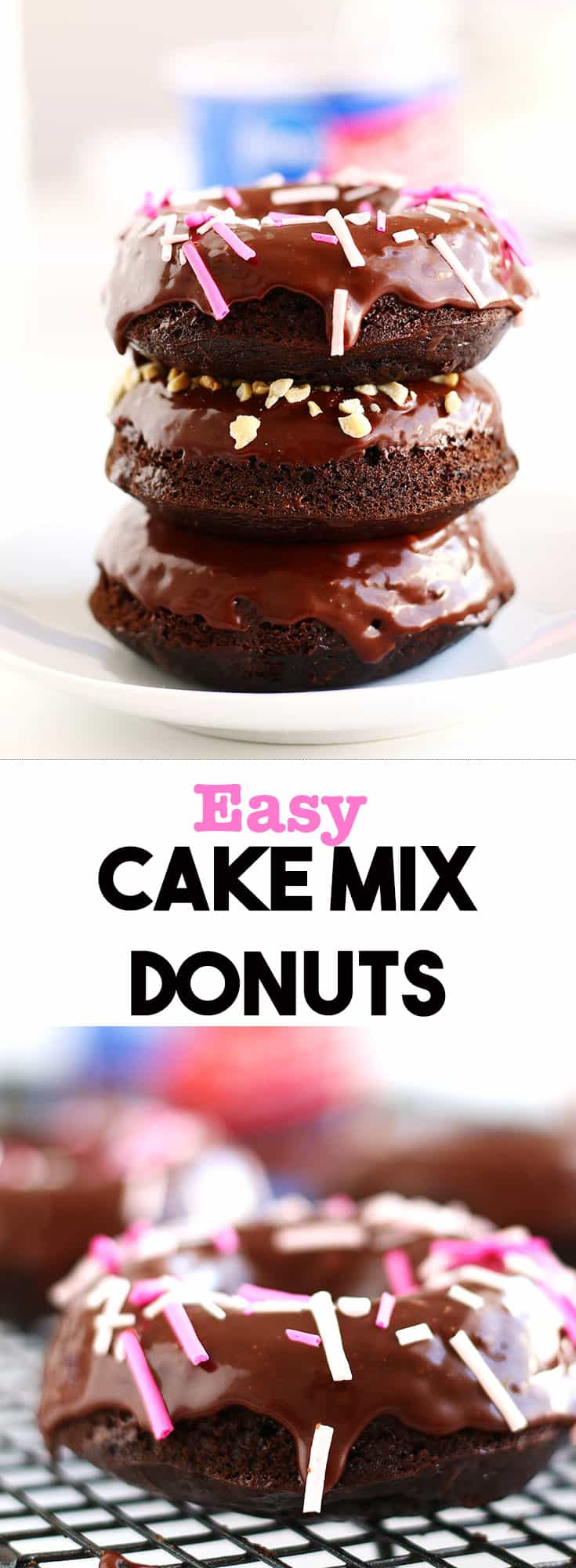 These Easy Cake Mix Donuts can be whipped up in a couple of minutes. They are moist, fluffy and so incredibly chocolatey. The perfect homemade dessert.