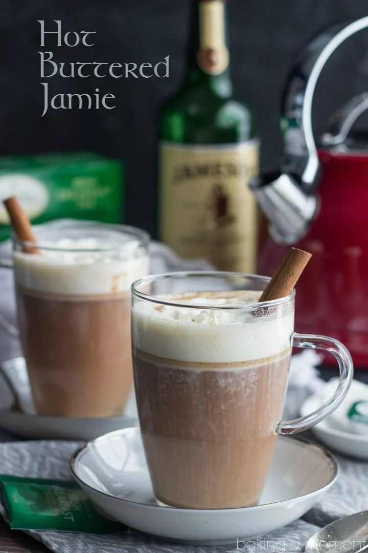 Warm up with a Hot Buttered Jamie! It's a comforting hot toddy made with strong black tea and Irish whiskey. Perfect for sipping on a cold afternoon!