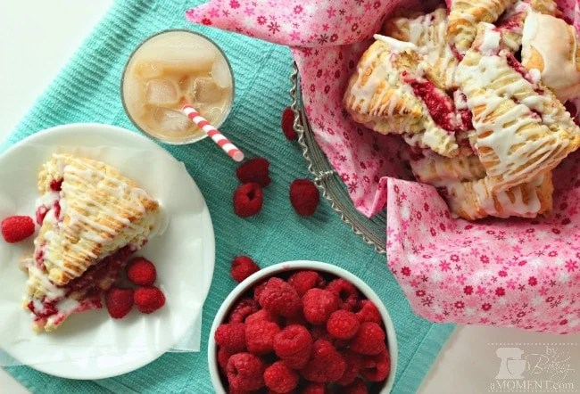 Raspberry Cream Scones with Rosewater Glaze by Baking A Moment