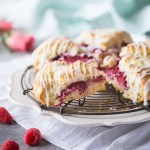 Raspberry Cream Scones with Rosewater Glaze