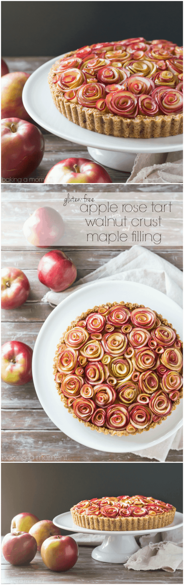 Your guests will be wowed by this gorgeous apple tart of roses, with a toasty walnut crust and a silky sweet maple custard filling.  And it's gluten-free! #apple #roses #tart #pie #holiday #baking #recipes #glutenfree