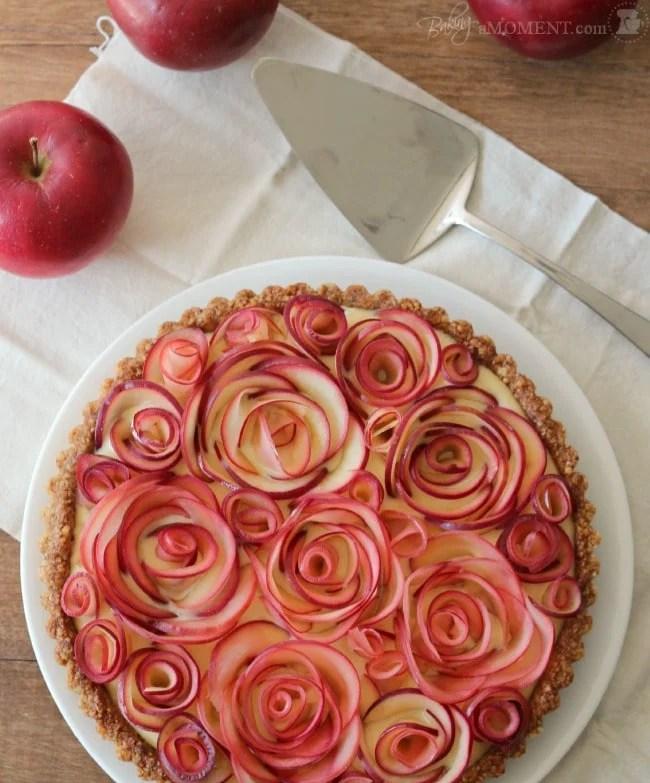 Apple Rose Tart with Walnut Crust & Maple Custard | Baking a Moment