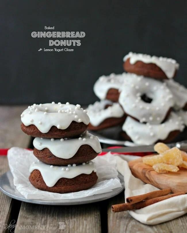 Baked Gingerbread Donuts with Lemon Yogurt Glaze | Baking a Moment