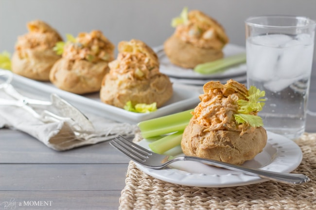 Buffalo Chicken Salad in Blue Cheese Gougeres | Baking a Moment