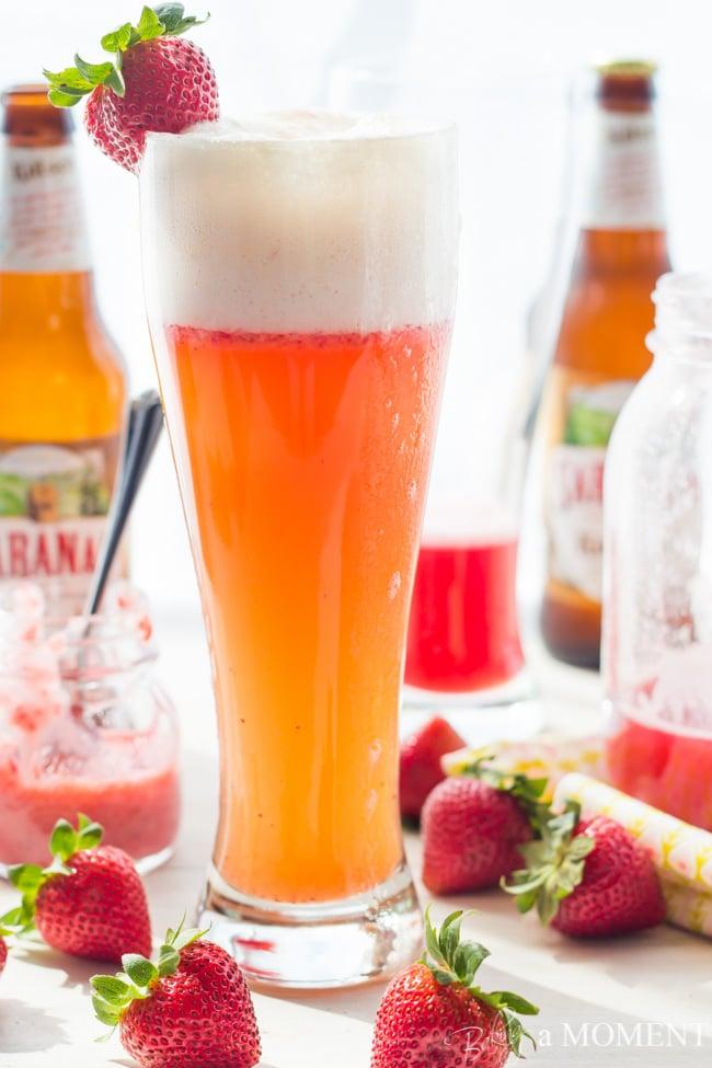 Strawberry Rhubarb Shandy | Baking a Moment
