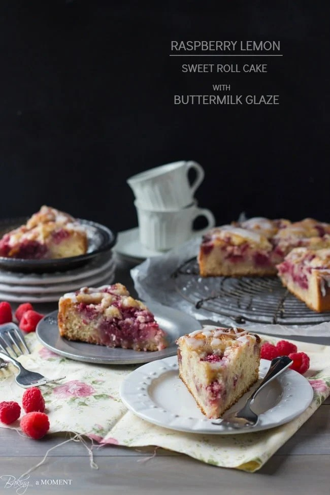 Raspberry Lemon Sweet Roll Cake with Buttermilk Glaze | Baking a Moment