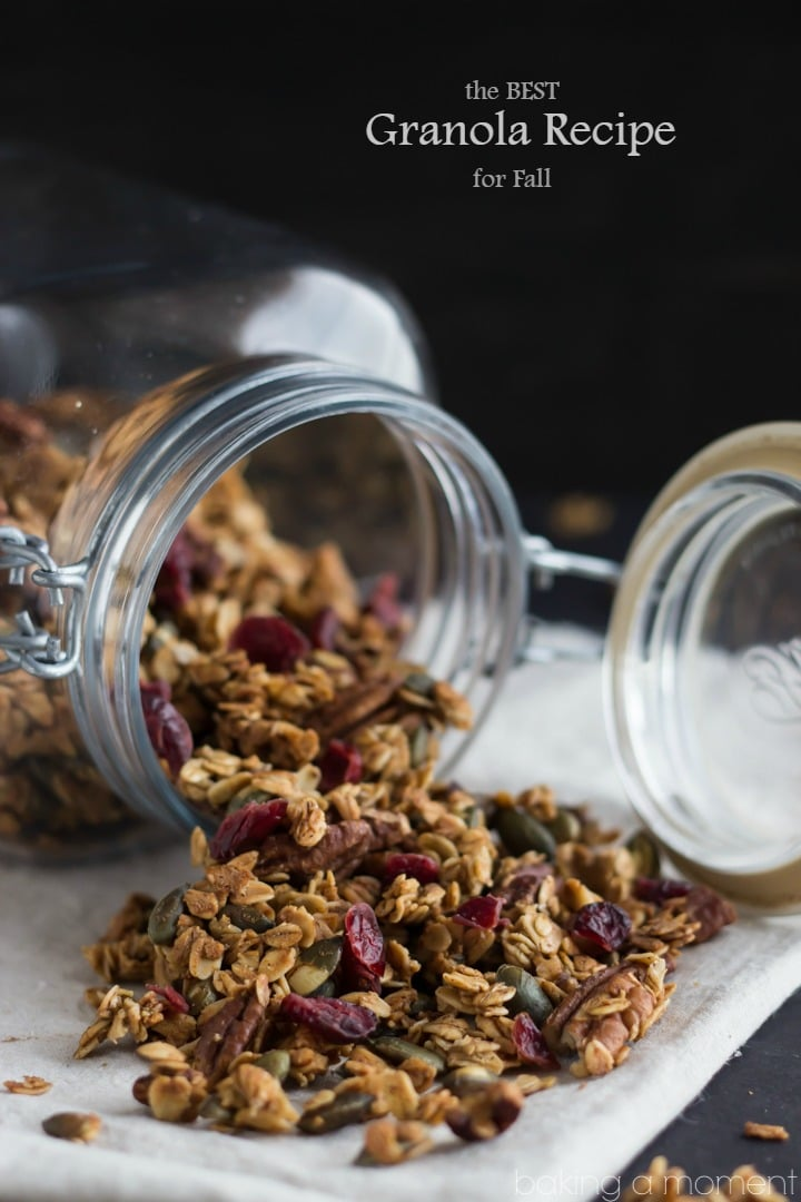 This recipe has everything you could want in a homemade granola: oats, cinnamon, ginger, toasted pepitas, pecans, & dried cranberries... It's perfect for fall!