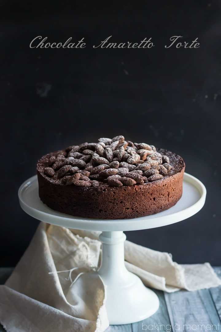 Chocolate Amaretto Torte- one of the best recipes I've made in a while! Sort of like a cake, sort of like a souffle, with an incredibly rich chocolate flavor and a hint of sweet almond.  #gonutsfornuts #ad