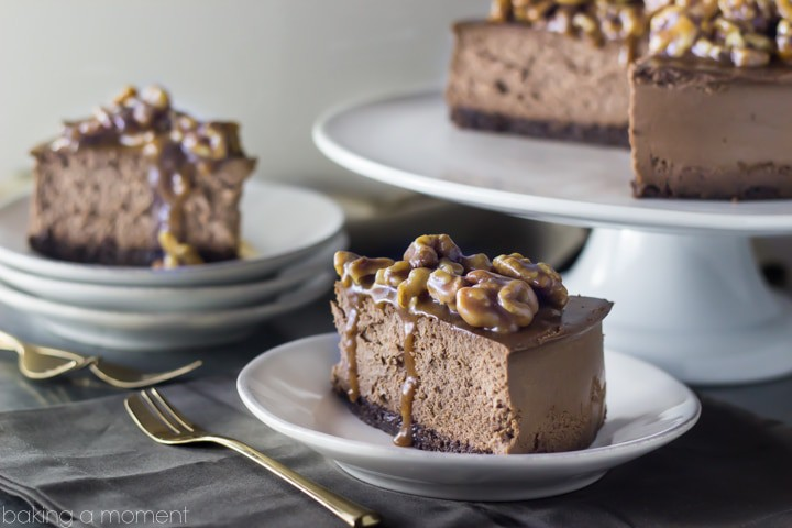 Double Chocolate Brownie Cheesecake with Salted Caramel Wet Walnuts- worth every flippin' calorie!