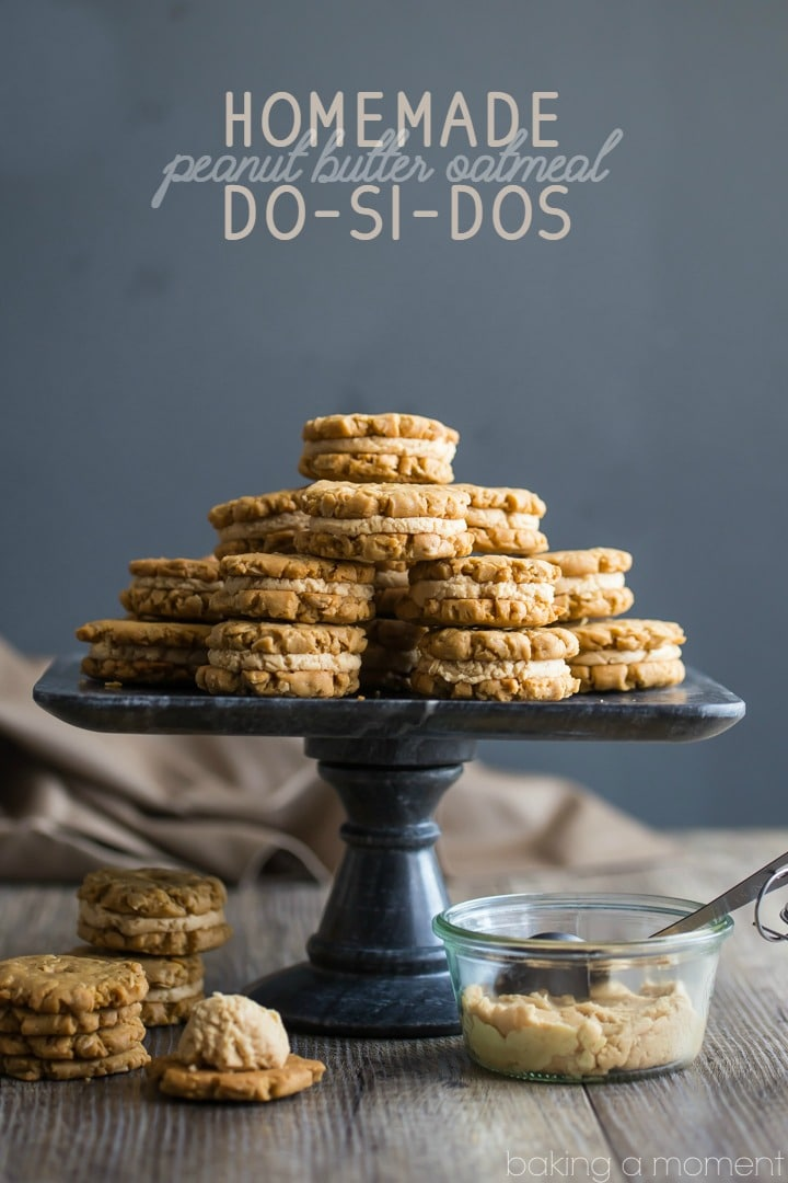 These homemade Do-Si-Dos were even better than the original Girl Scout Cookie! Loved the crunchy peanut butter oatmeal cookies, and could've eaten that peanut butter creme filling with a spoon!