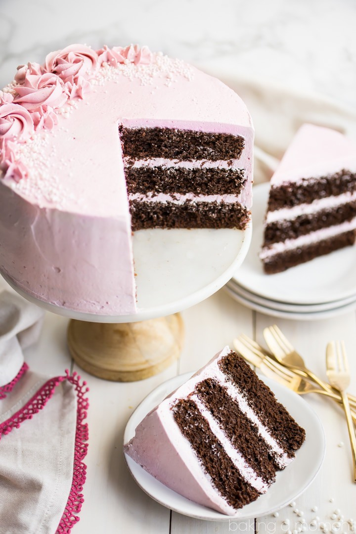 LOVED this moist and fluffy chocolate cake, and the raspberry buttercream was so light and fresh! Perfect party cake :)
