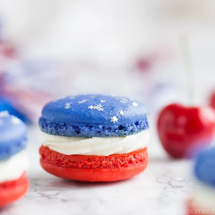 Red, White, and Blue Cherry Cheesecake Macarons - Baking A Moment