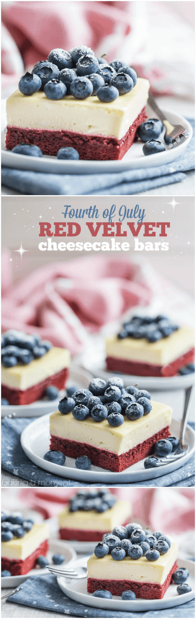 I made these red velvet cheesecake bars for the 4th of July and they were a big hit! The bottom layer had such a great cocoa/buttermilk flavor, and the cheesecake was so creamy!