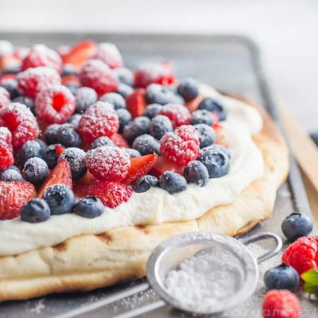 Such a great summer snack or dessert! This honey wheat flatbread whips up in a snap with no rise time, and the lightly sweet and fluffy whipped ricotta is so good with fresh berries!
