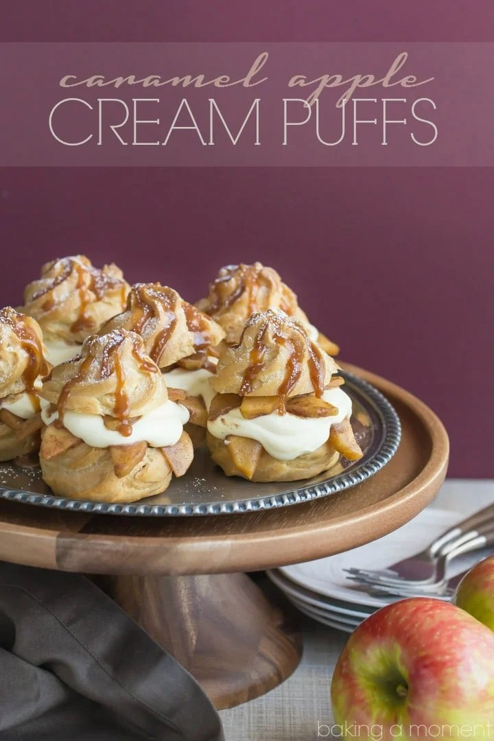Caramel Apple Cream Puffs- Omg SO good! Loved the way the fluffy cream contrasts with the crusty puff... the caramel apples are the icing on the cake! Great make-ahead dessert for a special occasion.