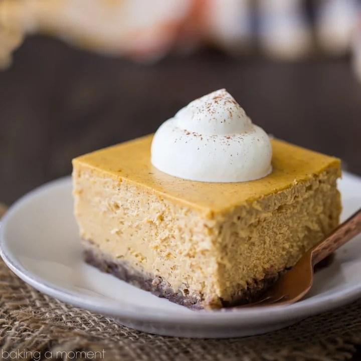 Pumpkin Cheesecake Bars with Pecan Crust