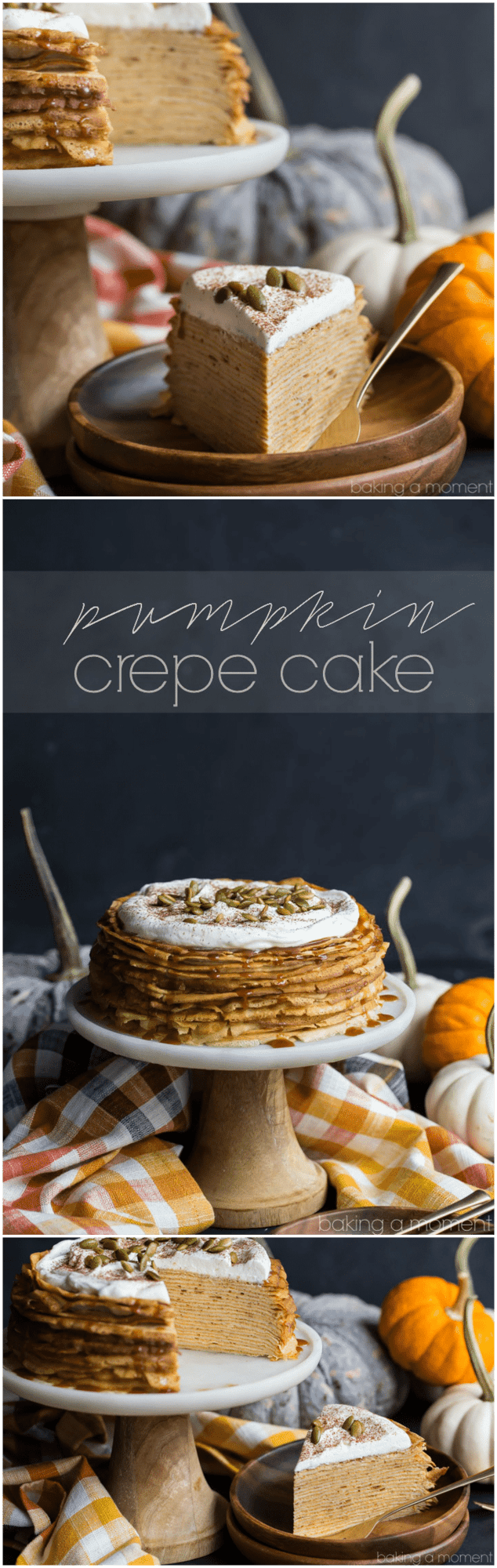 Pumpkin Crepe Cake: layer upon layer of lacy crepes, filled with a fluffy, cinnamon-spiced pumpkin pastry cream. The salted caramel and pepita garnish took this completely over-the-top! Definitely making this again for Thanksgiving.