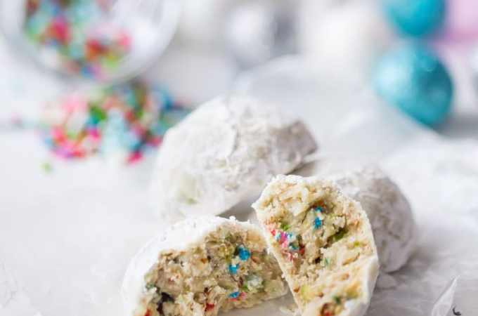 Nutty, buttery, and so much fun! These funfetti cookie balls are such a delicious way to enjoy the holiday season. Perfect with a cup of hot cocoa!
