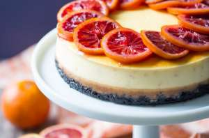 Blood Orange Cheesecake: the candied orange slices are so pretty and the citrus flavor works so well against the creamy cheesecake! The crunchy chocolate cookie crust is the perfect compliment.