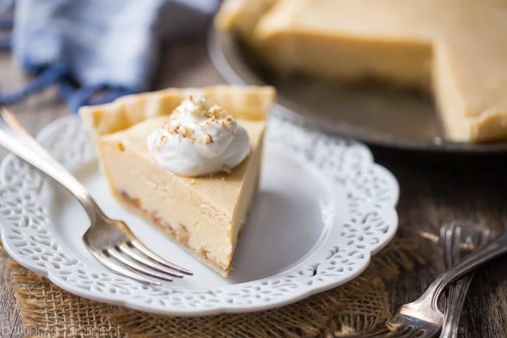 Gooey Butter Pie: Buttery brown sugar custard, salted caramel, and crunchy pecans, cradled in the flakiest ever pie crust!  food desserts pie #ad @whitelilyflour