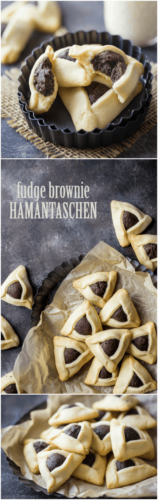 Fudge Brownie Hamantaschen- Little pillows of fudge-y chocolate brownie filling, surrounded by a butter-y sugar cookie.  food recipes purim cookies