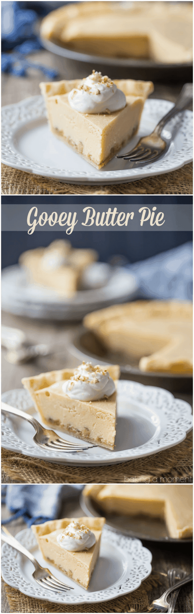Gooey Butter Pie: Buttery brown sugar custard, salted caramel, and crunchy pecans, cradled in the flakiest ever pie crust!  food desserts pie #ad @whitelilyflour