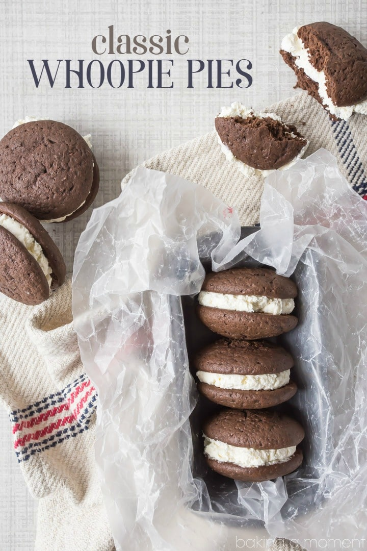 Whoopie Pies: these are such a classic, and this recipe totally takes them to the next level.  The cake is so chocolate-y, and the extra-fluffy vanilla filling is so silky and light!  My family went nuts for these.  food desserts chocolate