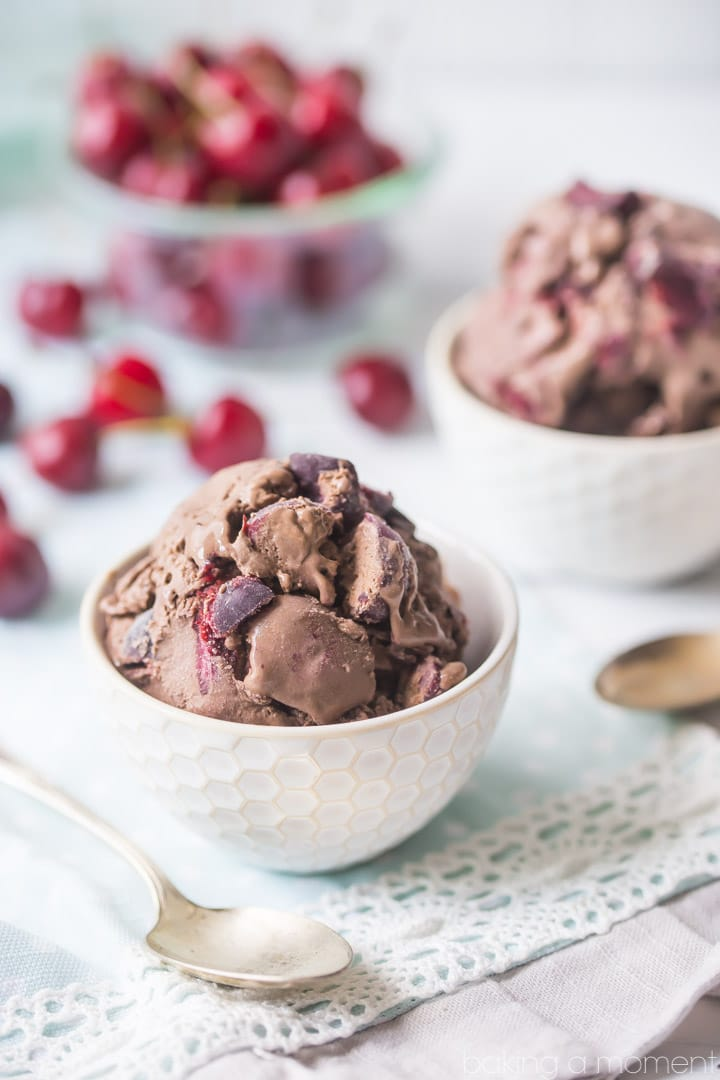 Chocolate Cherry Chip Ice Cream: SO chocolate-y and rich, and I loved the addition of dark sweet cherries and chocolate chunks.  food desserts chocolate
