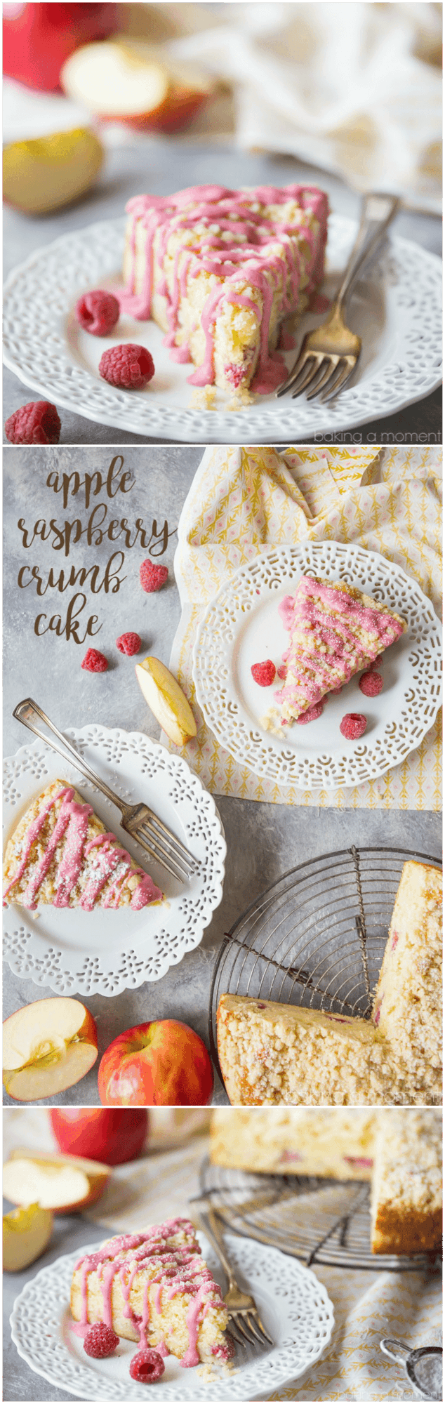 Apple Raspberry Crumb Cake:  perfectly light, moist, and buttery, with a hint of sweetness from the fruit and a lemony crumb topping.  We made this for Mother's Day and it was a big hit!  food desserts breakfast