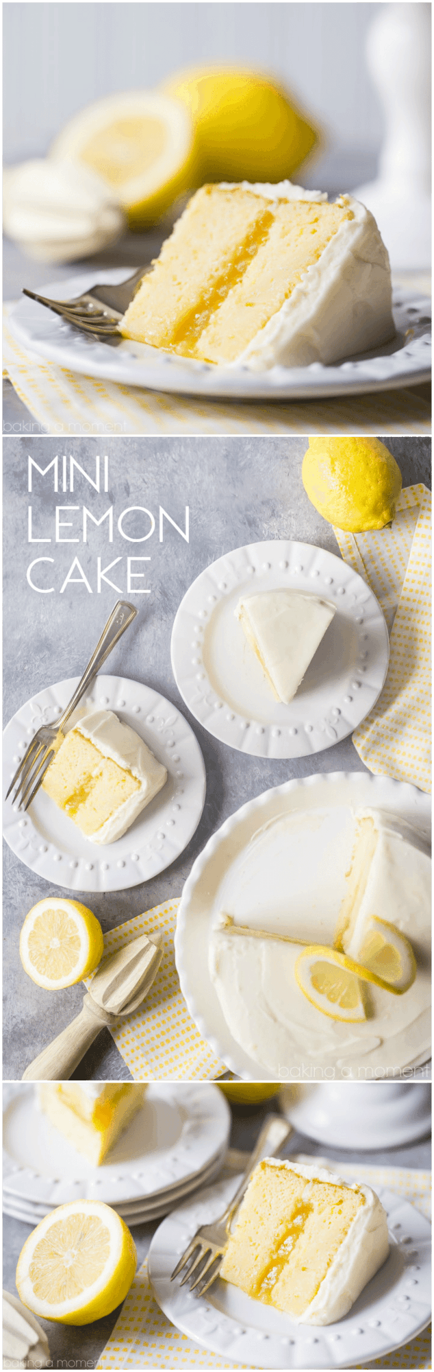 Mini Lemon Cake: perfect for a smaller get together, and just bursting with bright citrus in every layer!    food desserts lemon