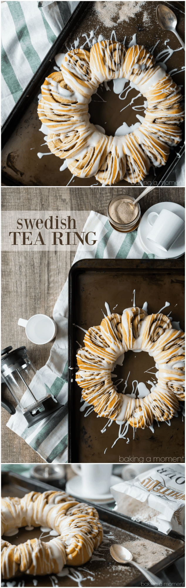 This Swedish tea ring has such a gorgeous presentation, and it's deceptively simple to create. Soft, sweet yeast dough swirled with cinnamon sugar and drizzled with a sweet glaze. Sort of like a pull-apart cinnamon roll bread. food breakfast cinnamon rolls #ad @whitelilyflour