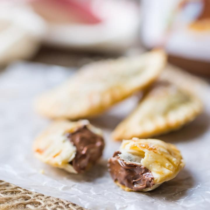 Baked Nutella Ravioli- Flakypastry Surrounding A Chocolate