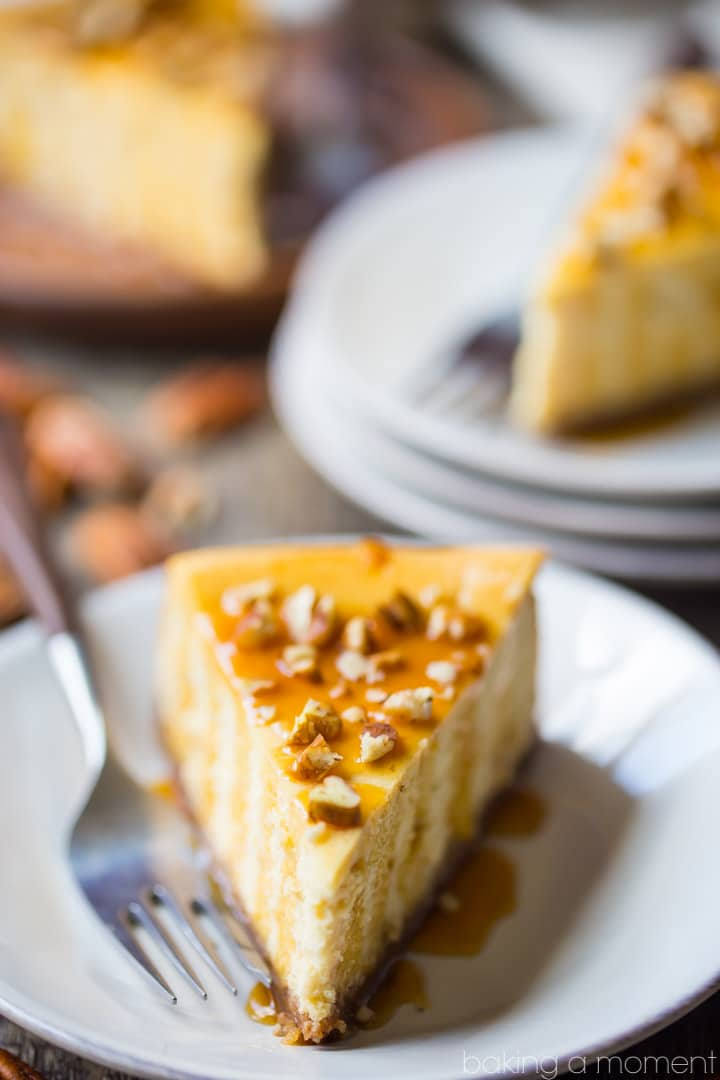 Caramel Pecan Cheesecake: so creamy and rich, with the most incredible nutty, caramel flavor!  food desserts cheesecake