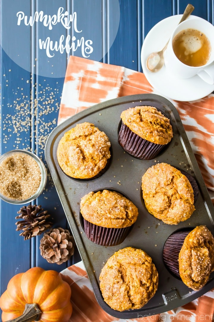 This is my go-to pumpkin muffin recipe from now on.  The muffins came out moist and tall, with a crunchy sugar topping and plenty of earthy pumpkin flavor and warm fall spices.  food breakfast brunch pumpkin