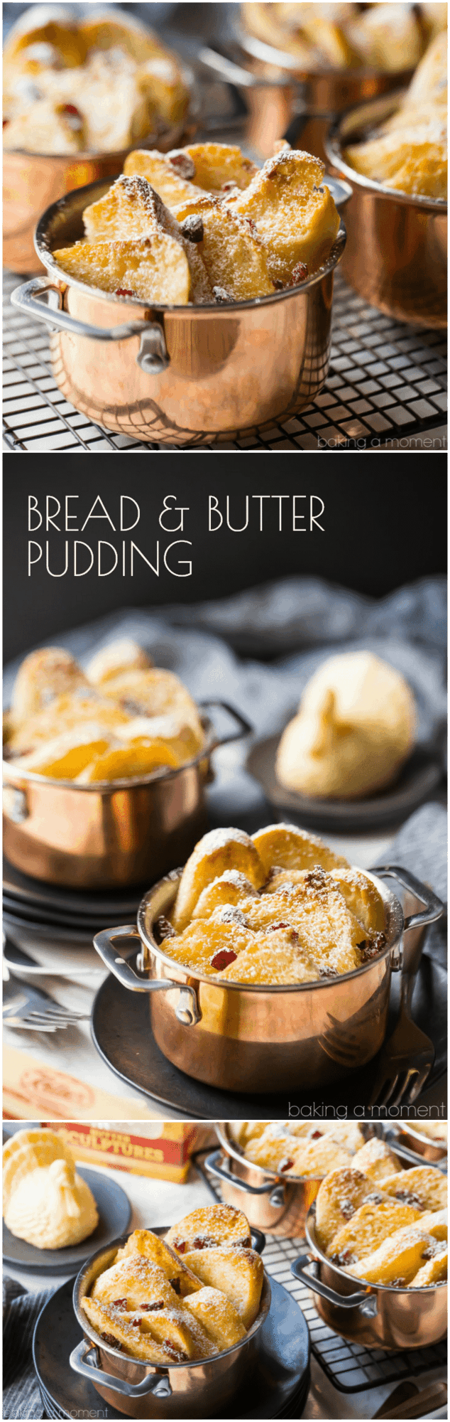 Bread & butter pudding: this is comfort food at its very best! The bread gets so toasty & crisp on top, creamy & rich underneath. I make this every winter and my family goes crazy for it! #food #desserts #comfortfood #custard #breadpudding #baking
