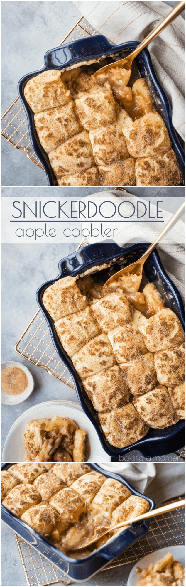 Snickerdoodle Apple Cobbler: soft baked apple filling topped with cinnamon-sugar-y snickerdoodle cookies! This makes your whole house smell amazing! #food #desserts #apple #cinnamon #comfortfood #baking