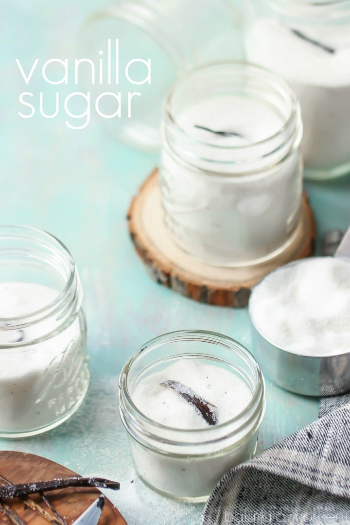 Vanilla sugar takes only seconds to make, and it's so fragrant and delicious!  I use it in so many things, and it makes an easy homemade gift!  #food #desserts #homemade #gift #holiday #christmas #easy #vanilla #sugar #jar