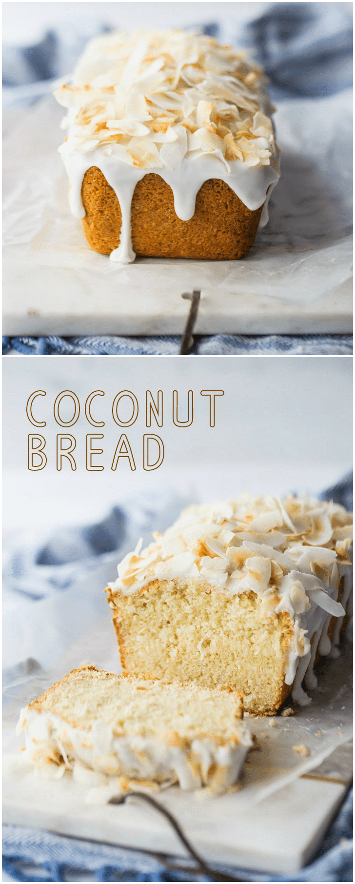 This coconut bread was a breeze to make, and it came out moist, soft, and just sweet enough.  The glaze and the toasted coconut topping were the perfect added touch! #coconut #bread #coconutbread #recipe #easy #toasted #cake #loaf #quickbread #best #sweet #moist #withglaze #simple #shredded #Easter #breakfast #brunch #snack