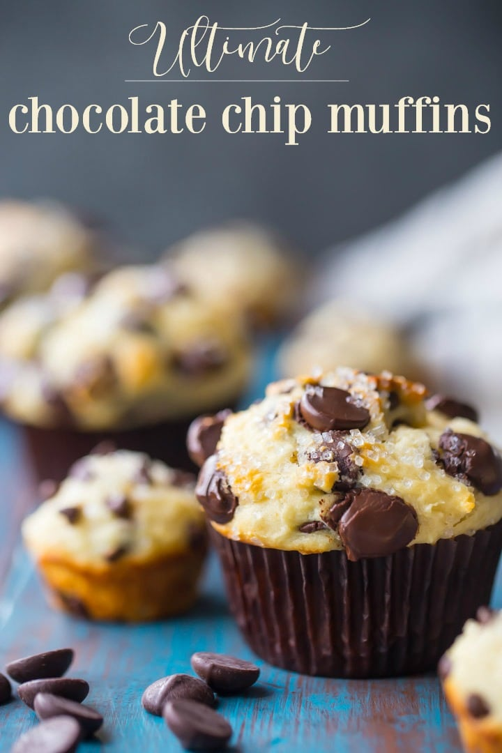 Vertical image with text overlay of a freshly baked chocolate chip muffin on an aqua-painted wood background, with chocolate chip mini-muffins in the background.
