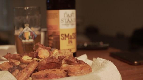 smash ipa and fried veggies