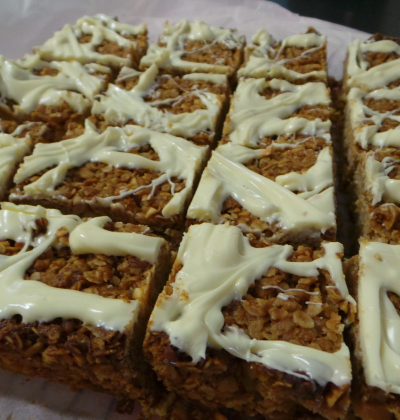 Nutty flapjack with white chocolate