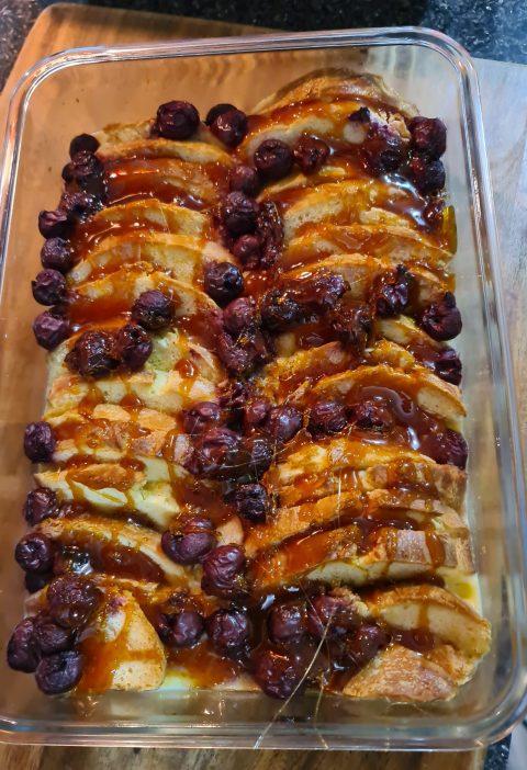 brioche & merollo bread & butter pudding with toffee